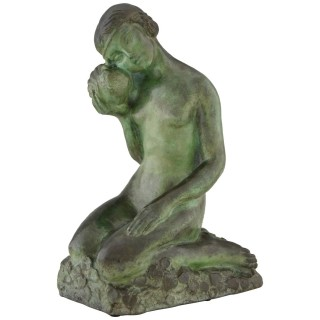 Art Deco bronze sculpture nude girl with dove