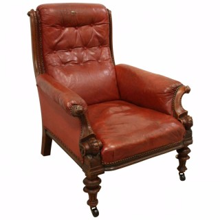 Early Victorian Mahogany and Leather Armchair