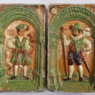 Pair of 16th century polychrome German earthenware stove tiles.