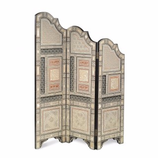 A finely detailed three panelled Orientalist folding screen