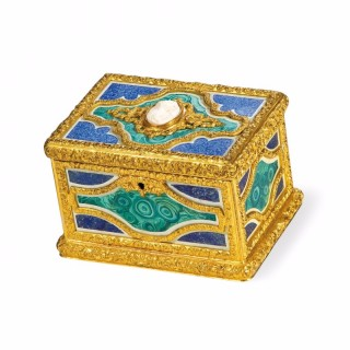 A trompe l'oeil ormolu and soapstone rectangular box