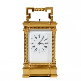 Gilt repeating Carriage Clock with Barley twist columns