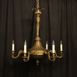 A French Gilded Bronze Cherub 6 Light Chandelier
