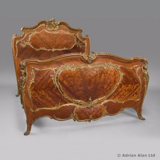 Gilt-Bronze Mounted Kingwood and Marquetry Double Bed