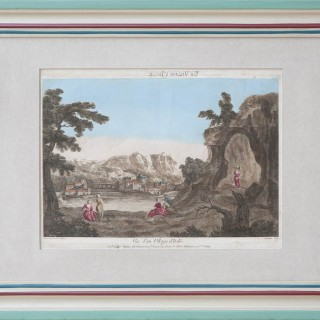 SET OF TWELVE FRENCH 18TH CENTURY 'VUE D'OPTIQUE' IN PAINTED FRAMES