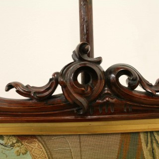 Early Victorian Carved Rosewood Pole Screen