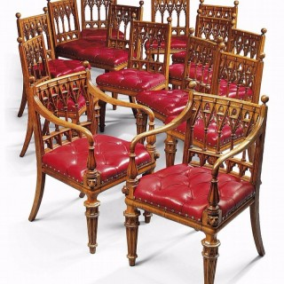 Fine Set of 14 Carved George IV Oak Dining Chairs, British, c.1830