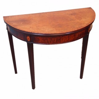 Antique Georgian Mahogany Demi Lune Card Table