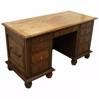 Continental Carved Walnut Knee Hole Desk