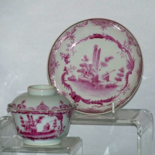 Qianlong European Subject Lidded Bowl and Saucer