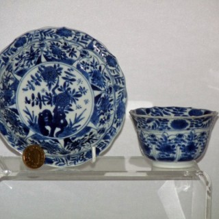 Kangxi Porcelain Blue and White Tea bowl and Saucer