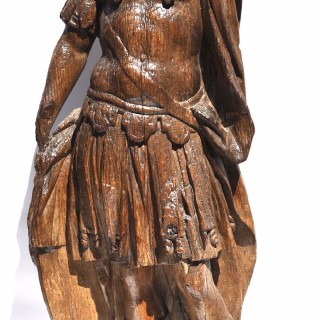 Large 17th century Flemish carved oak figure of a Roman Soldier