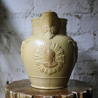 A Rare King George IV Memoriam Buff Stoneware Jug c.1830