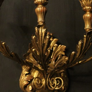 A French Set Of Three Giltwood Antique Wall Lights