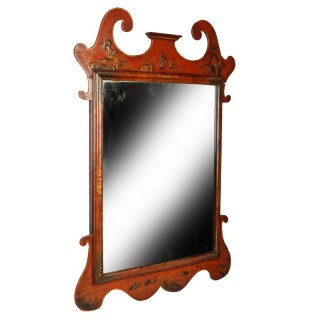 18th Century Style Red Lacquered Mirror