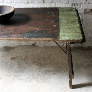An Unusual 19thC Country House Painted Oak & Iron Trestle Table c.1870