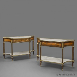 A Fine Matched Pair of Louis XVI Style Console Dessertes