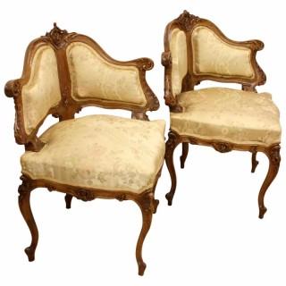 Pair of Italian Walnut Corner Chairs