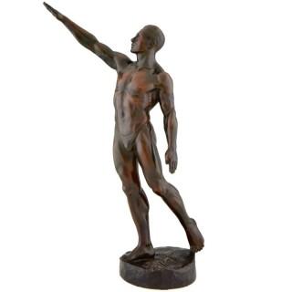 Olympic Salute, bronze Art deco sculpture male nude athlete by Albert David