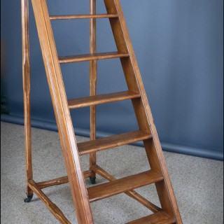Mid 19th century beech  LIBRARY LADDER