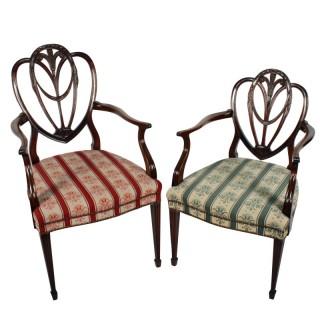 Hepplewhite Gents & Ladies Arm chairs
