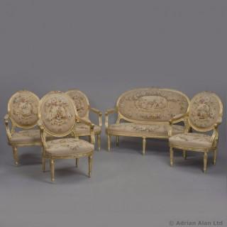 A Five Piece Louis XVI Style Salon Suite