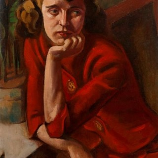 'Woman in Red' Oil on canvas by a Chicago School artist c.1935