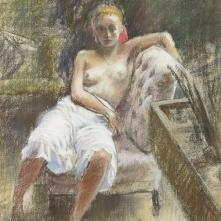 'Model in the Studio' Pastel c 1940 by Paul Lewis Clemens (1911-1992)