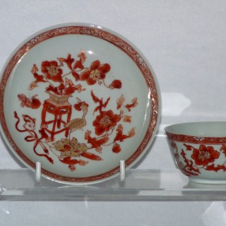 Kangxi /yongzheng Rouge de fer tea bowl and saucer