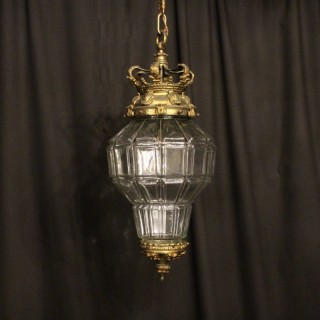 A French Gilded Single Light Antique Hall Lantern
