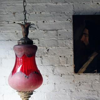 A Pretty Naturalistic Late Victorian Brass & Cranberry Glass Hall Lantern c.1890