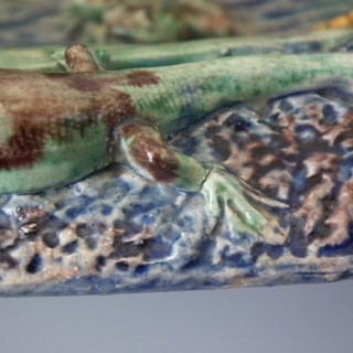 Large Barbizet Majolica Palissy fish, reptile & insect platter