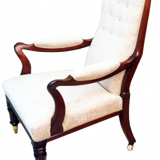 Antique Pair Rosewood Library Armchairs
