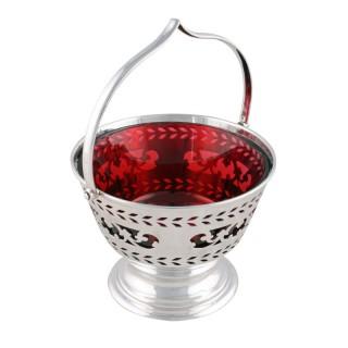 Edwardian Silver & Ruby Glass Basket