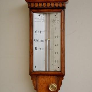 19c Oak Cased Stick Barometer
