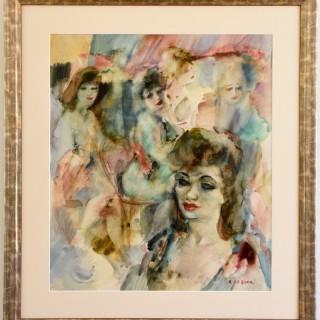 Art Deco watercolor elegant ladies in a bar.