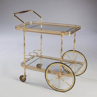 Mid Century Brass Drinks Trolley / Bar Cart