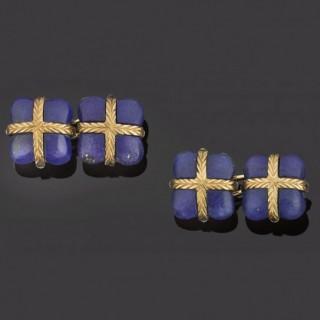 Unusual pair of gold and lapis lazuli cufflinks in original case.