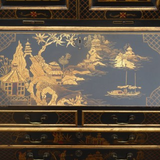 18th Century Black Chinoiserie Bureau Bookcase