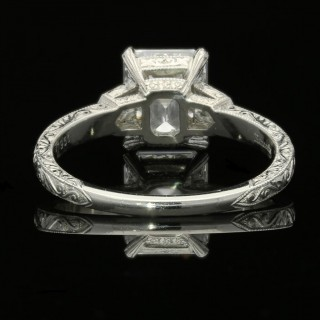 2.02 Carat D VS2 Emerald Cut Diamond Solitaire  Ring With Bullet Diamond Accents By Hancocks