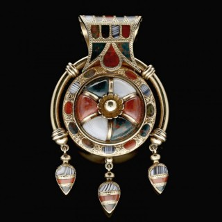 A Beautiful Gold And Scottish Pebble Bulla Pendant, c. 1870