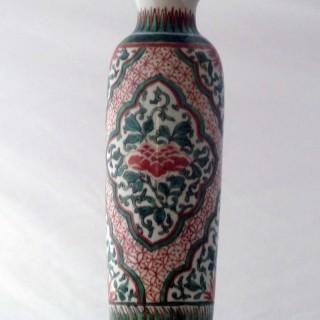 Chinese transitional Wucai Porcelain Sleeve vase