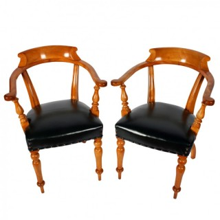 Pair of Mid Victorian Satin Birch Captain's Chairs
