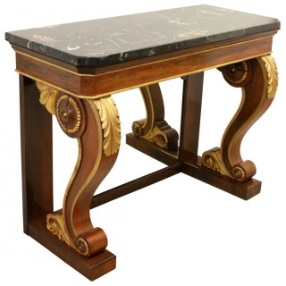 Marble Topped Rosewood Console Table