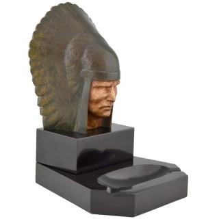 Art Deco bronze Indian sculpture ashtray.