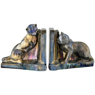 French Art Deco ceramic cat bookends.