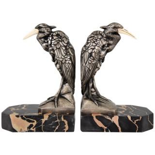 Art Deco silvered bronze heron bird bookends.