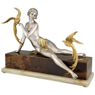 Art Deco bronze sculpture nude with parrots