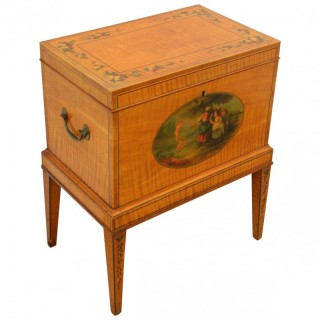 Sheraton Revival Satinwood Painted Wine Cooler