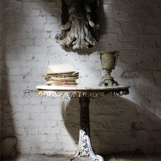 An Unusual Victorian Gothic Revival Cast Iron & White Carrara Marble Topped Circular Centre Table c.1870 & Later